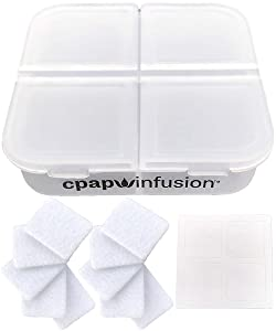 CPAP Infusion Adapter Replacement Refill Pads for Essential Oils - Includes A Storage Container for Up to 20 Refill Pads, 4 Blank Labels and Microfiber Absorbent Replacement Oil Pads (10 Refill Pads)