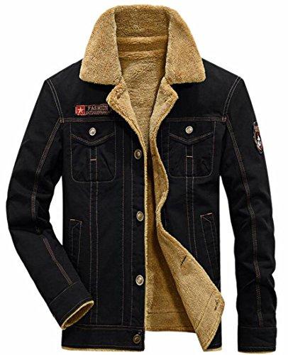 Fleece Jacket Year Fly uk Fur Lined Winter Men's Warm Winter Black Collar Fashion With dXZfwZqz