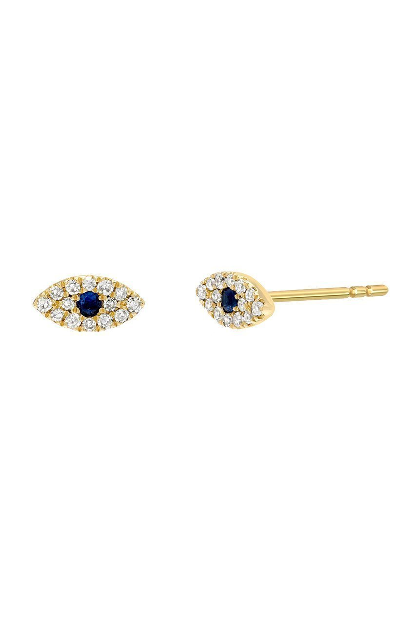 Diamond evil eye stud earrings, pave diamond, 14k solid gold