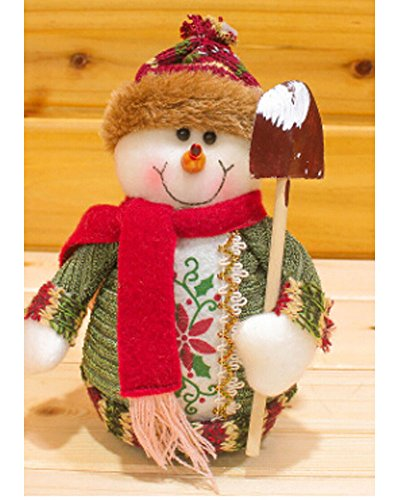 Christmas Ornaments Snowman Doll Sitting Toy Rag Plush Articles Stuffed FigureToy Collectible Figurines Toy Home Table Display Ornament Party Decoration Xmas ()