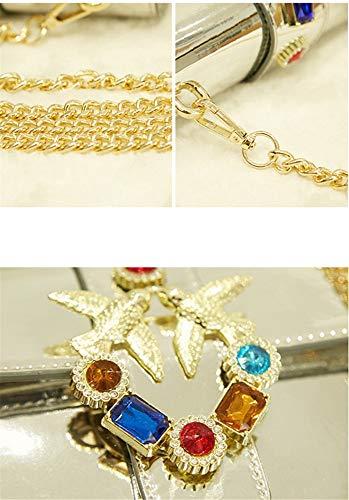 Cuadrado Pequeño Cadena Europeo Bolso Bandolera Mujer Diamantes Bolsos Silver Charol Golondrina De Oro nTUz8