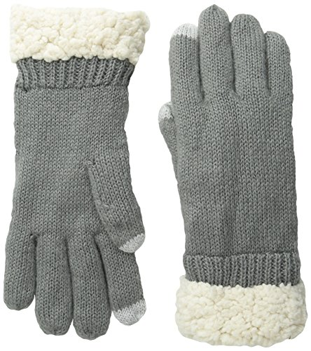 NORTH POINT Women's Sherpa-Trimmed Glove with Touch Technology, Grey, One ()