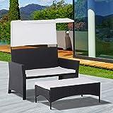 2pcs Loveseat Ottoman Set Garden Wicker Lounge Bed Black