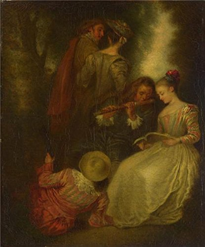 18th Century Costume Ball (The High Quality Polyster Canvas Of Oil Painting 'After Jean-Antoine Watteau - Perfect Harmony,18th Century' ,size: 30x36 Inch / 76x92 Cm ,this Replica Art DecorativeCanvas Prints Is Fit For Living Room Decor And Home Gallery Art And Gifts)