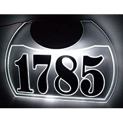 CUSTOM EDGE-LIT LED LIGHTED ACRYLIC ADDRESS SIGN ILLUMINATED HOUSE NUMBER LED LIGHTED ADDRESS PLAQUE