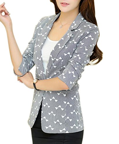 Print Blazer (Aro Lora Women's 3/4 Sleeve Stripe Office Casual Jacket Blazer One Button US 6-8 Black)