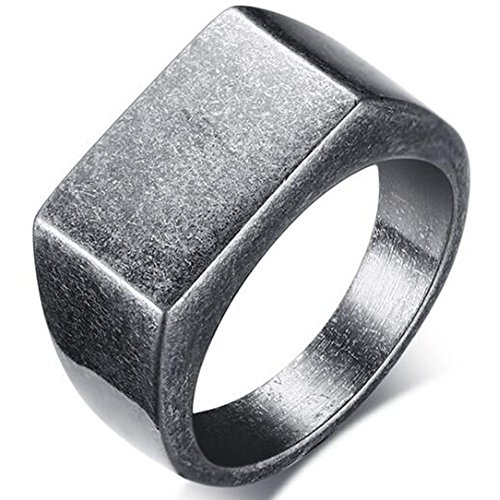 Jude Jewelers Retro Vintage Style Stainless Steel Signet Ring (Grey, 12)