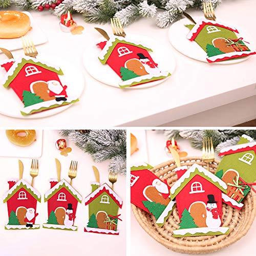 CHoppyWAVE Cutlery Pouch, Christmas Tree House Santa Elk Snowman Xmas Dinner Table Decor Spoon Knife Pouch - 4# by CHoppyWAVE (Image #4)