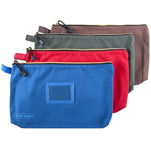 Canvas Zipper Tool Bags -16oz Heavy Duty Water Resistant Multi-Purpose 13.7 inch X 8.5 inch Spacious Storage Pouches - 4 Pack Organizer Set -Green, Red, Blue and Brown- Tools, Cosmetics, Art and more. by Our Daily Life