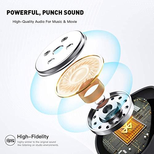 Bluetooth 5.0 Wireless Headphones, CRESOND CS1 Wireless Earbuds 104H Cycle Playing Time IPX8 Waterproof Deep Bass Bluetooth Headphones with 2600mAh Charging Case