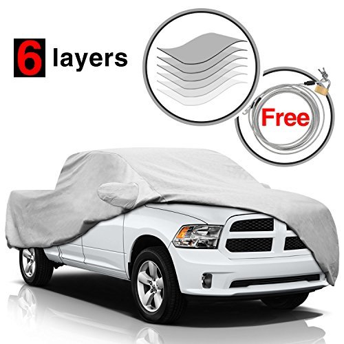 (KAKIT 6 Layers Dodge Ram Truck Cover for Dodge Ram 1500 2500 3500 Crew Cab 1998-2017, All Weather Waterproof Windproof for Outdoor, Dustproof Scratch Proof Dodge Ram Car Cover, Free Anti-Theft Lock)