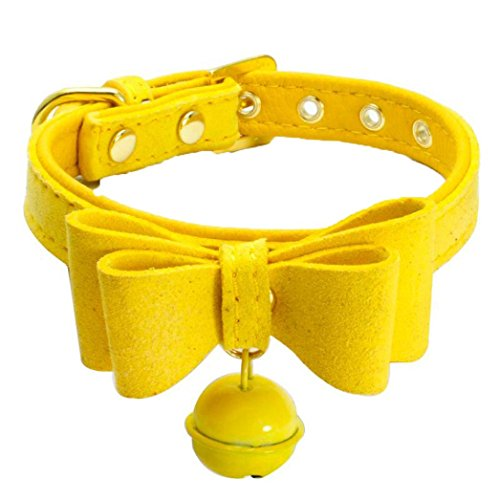 (FORESTIME Adjustable Leather With Bell Pet Puppy Dog Neck Strap Collar (yellow, XXS))
