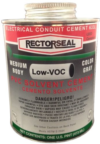 Rectorseal 55980 1/2 Pint Clear Pvc Conduit 633L Low Voc Pvc Solvent (Pvc Solvent)