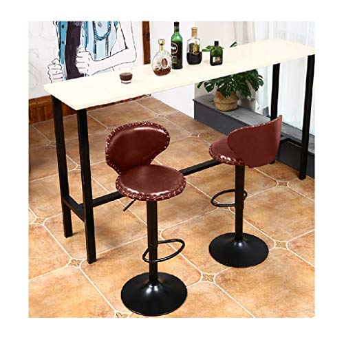 JinJin Modern Square PU Leather Adjustable Bar Stools with Back,Set of 2,Counter Height Swivel Stool by Leopard,high swivel stool with back (A2) Air Lift Bar Stool