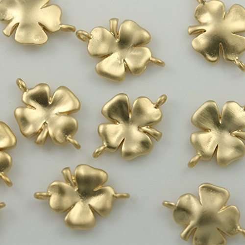 4 pcs Cute four leaves clover Pendants Charms Connectors Spacer links 16K gold plated over brass for earrings necklace bracelets choker etc. Jewelry Making Supplies (Gold Plated Brass Connector)
