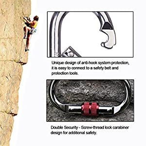 Yougeyu 2 Pack Climbing Carabiner(25KN=5600 lb) O-Shaped Super Strength Steel Screw Lock Protection Carabiner Clip For Climbing Hiking Yoga Hammock and Used for Exploring Rappelling