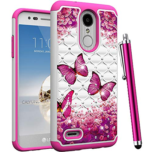 CAIYUNL for LG Aristo 2 Case, LG Tribute Dynasty, Zone 4, Fortune 2, K8 2018,K8 Plus,Risio 3,Rebel 3 LTE Bling Luxury Studded Rhinestone Girls Women Protective Dual Layer Hard Cover-Hot Pink Butterfly (Lg Tribute Pink Phone Case)