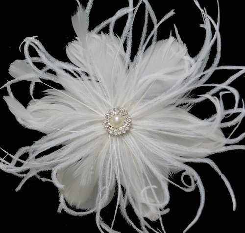Leslie Li Women's Pearl with Feather Clip & Bridal Birdcage Veil One Size Ivory 27-F67 by Leslie Li (Image #4)