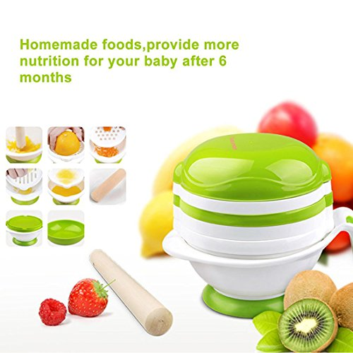 Baby Food Mill Grinding Bowl Grinder Processor Multifunction Mash Prep Serving DIY Homemade 8 in 1 Set by Kolamom, White from Kolamom