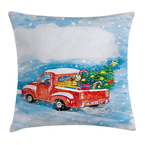 Ambesonne Christmas Throw Pillow Cushion Cover, Vintage Red Truck in Snowy Winter Scene with Tree and Gifts Candy Cane Kids, Decorative Square Accent Pillow Case, 20 X 20 inches, Blue White Red