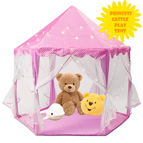 - ENJSD Princess Castle Play Tent, Hexagon Indoor & Outdoor Children Playhouse for Gift(Not Included Light) (Pink)