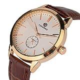 Mens Self-Winding Mechanical Sport Watch YISUYA Fashion Genuine Leather Automatic Analogue Wristwatch