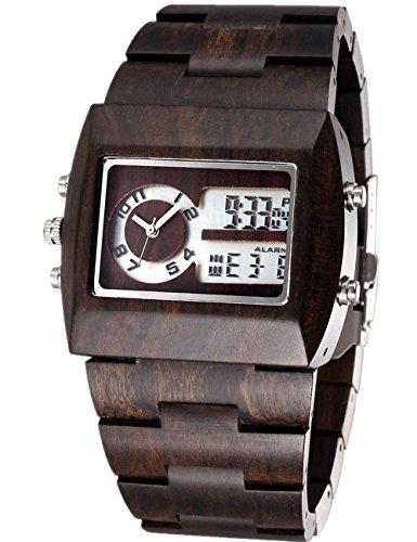Modestil Komfortable Analog-Digital Armbanduhr Herren Holz Uhren mit 100% natürlicher Sandelholz