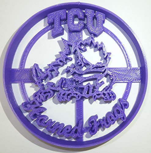 TCU HORNED FROGS TEXAS CHRISTIAN NCAA D1 FOOTBALL LOGO SPECIAL OCCASION FONDANT STAMP CUTTER OR CUPCAKE TOPPER SIZE 1.75