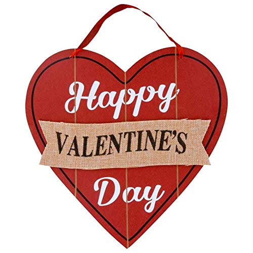 Awesome Shopper Happy Valentine's Day Red Wooden Heart Decoration Hanging Door Wall Sign 11.5