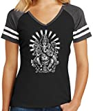 Ladies Ganesha Game V-Neck Tee, Large Black/Heathered Charcoal Review