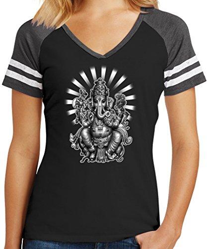 Ladies Ganesha Game V-Neck Tee, Large Black/Heathered Charcoal Review