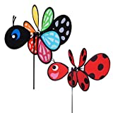 Maven Gifts: In the Breeze Garden Spinner Bugs 2-Pack – Multicolored Baby Butterfly Garden Spinner with Red Baby Ladybug Garden Spinner (Toy)