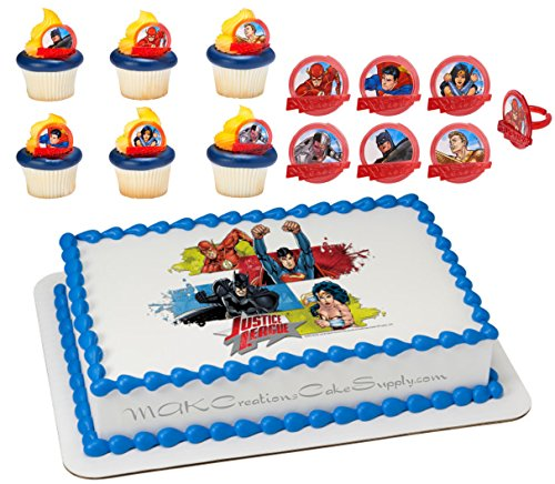 Justice League Licensed Edible Wafer Cake Topper & Cupcake Ring Combo -