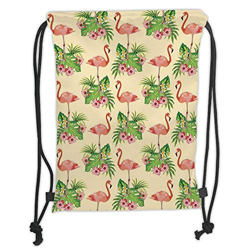 New Fashion Gym Drawstring Backpacks Bags,Flamingo,Flamingo Pattern and Greenery Grass Lake River Floral Design Artwork,Green Light Pink Cream Soft Satin,Adjustable String Closure ()