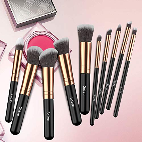 Makeup Brushes, SOLVE Premium Makeup Brush Set Synthetic Cosmetics Foundation Powder Concealers Blending Eye Shadows Face Kabuki Makeup Brush Sets (10pcs, Rose Golden)