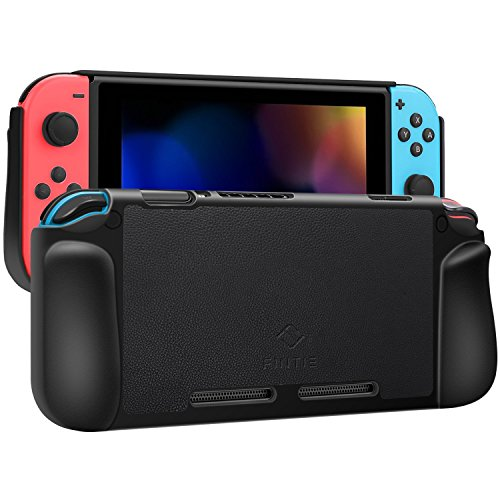 Fintie Case Compatible with Nintendo Switch, Vegan Leather Coated Hard Shell Protective Back Cover Shock Absorption [Snap On] Ergonomic Grip Fit Nintendo Switch, Retail Package (Black)
