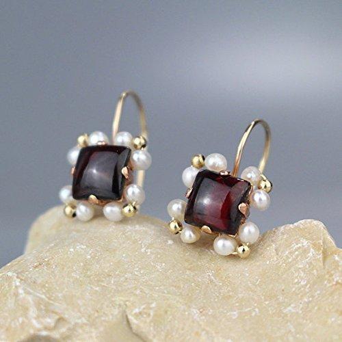 Handmade Dainty Gold Filled Deep Red Garnet Pearl Gemstone Dangle Earrings January Birthstone Earrings (Antique Red Gold Earrings)