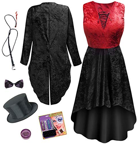 Red Ringmaster Plus Size Halloween Costume Dress & Jacket Deluxe Kit 2x