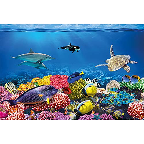(GREAT ART Wall Mural Aquarium Decoration Colourful Underwater World paperhanging Sea Wallpaper Coral Reef Poster 132.3x93.7 Inch / 336x238 cm)