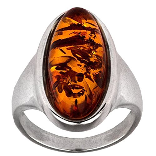 Amber Sterling Silver Oval Ring (Amber Cocktail Ring)
