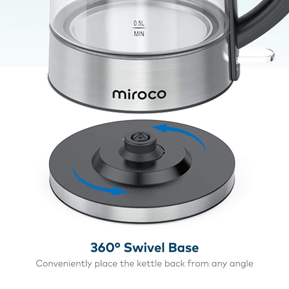 Hervidor de agua cristal y acero inoxidable, 1,7 L Miroco MI-EK002-0505
