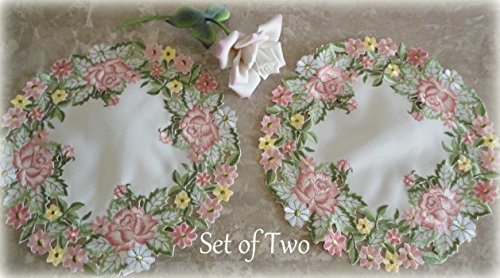 - Embroidered Pink Rose Doilies Set of 2 Round Scarf Lace