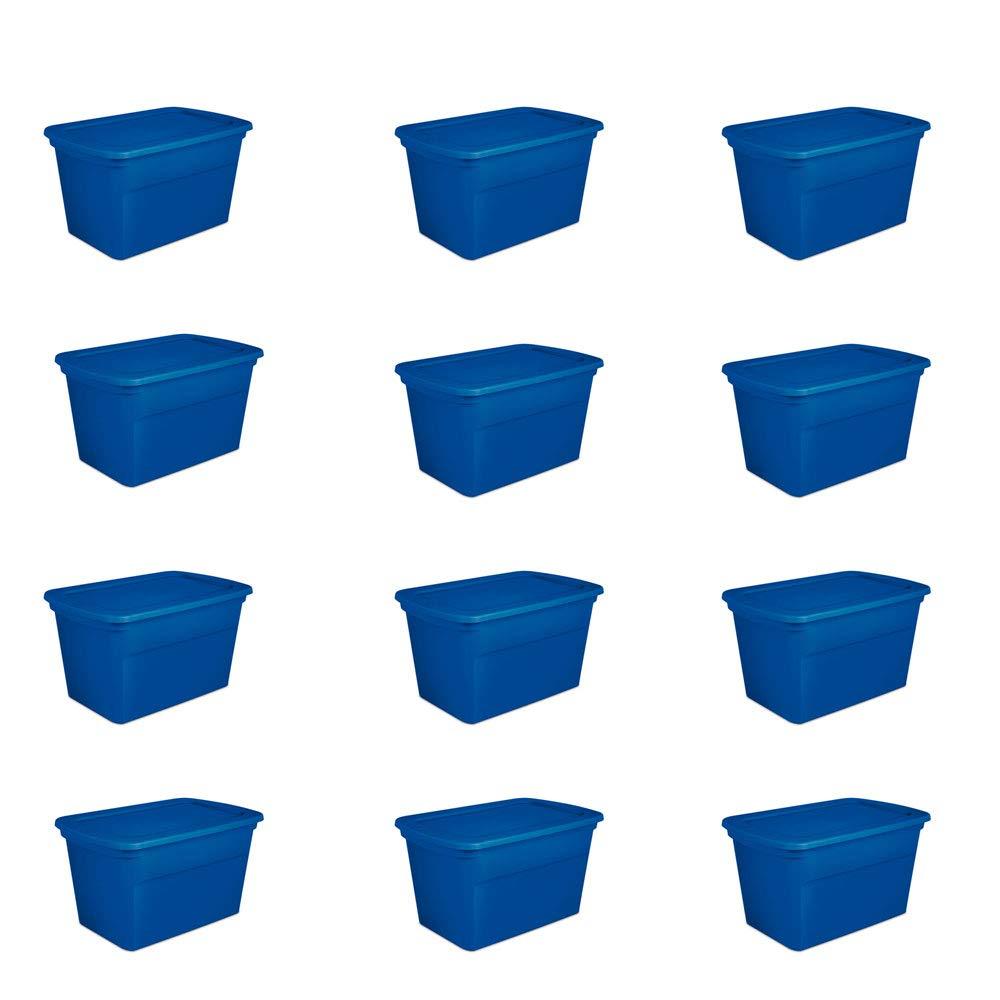 Sterilite 30 Gallon Heavy Duty Stackable Storage Tote, Blue Morpho (12 Pack) by STERILITE