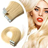 "18"" Tape in Hair Extensions Remy Human Hair 20pcs 30g 613 Bleach Blonde Light Color Long Straight Hair Seamless Skin Weft 10 Invisible Double Sided Tape"