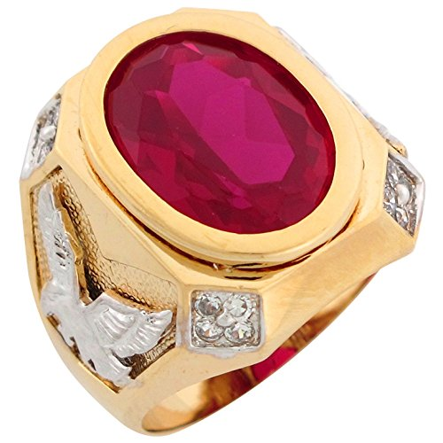 Jewelry Liquidation 14k Two Tone Gold Simulated Red Ruby Eagle Accents Bold Mens Ring ()