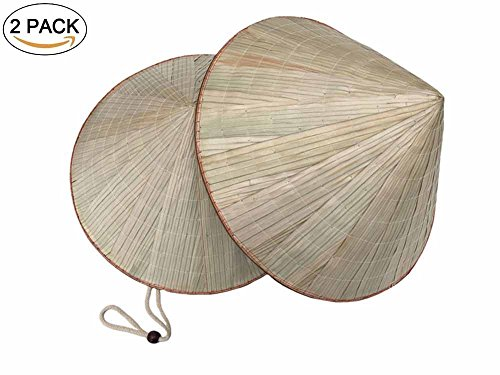 Hand Woven Bamboo Hat Straw Cone Garden Fishing Hat Adult Rice Hat 2Pack (tan) (Straw Hand Cap Woven)