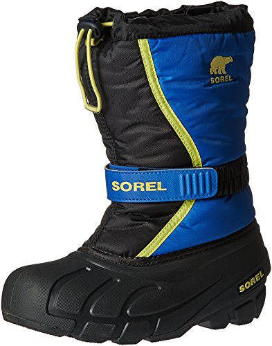 (Sorel Youth Flurry-K Snow Boot, Black/Super Blue, 5 M US Big Kid)