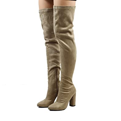 806fb43f148 ESSEX GLAM Women s Taupe Faux Suede Thigh High Round Heel Stretch Long Leg  Boots 5 B