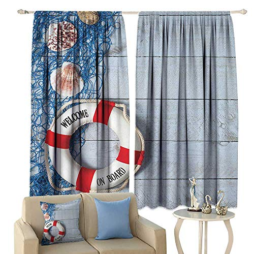 Buoy Decor Decor Curtains Welcome On Board Message On Lifebuoy with Fishing Net Seashell Wood Floor of Boat Home Garden Bedroom Outdoor Indoor Wall Decorations from cobeDecor