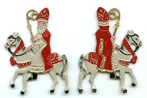 St. Nicholas on Horse - German Pewter Christmas Tree Ornament